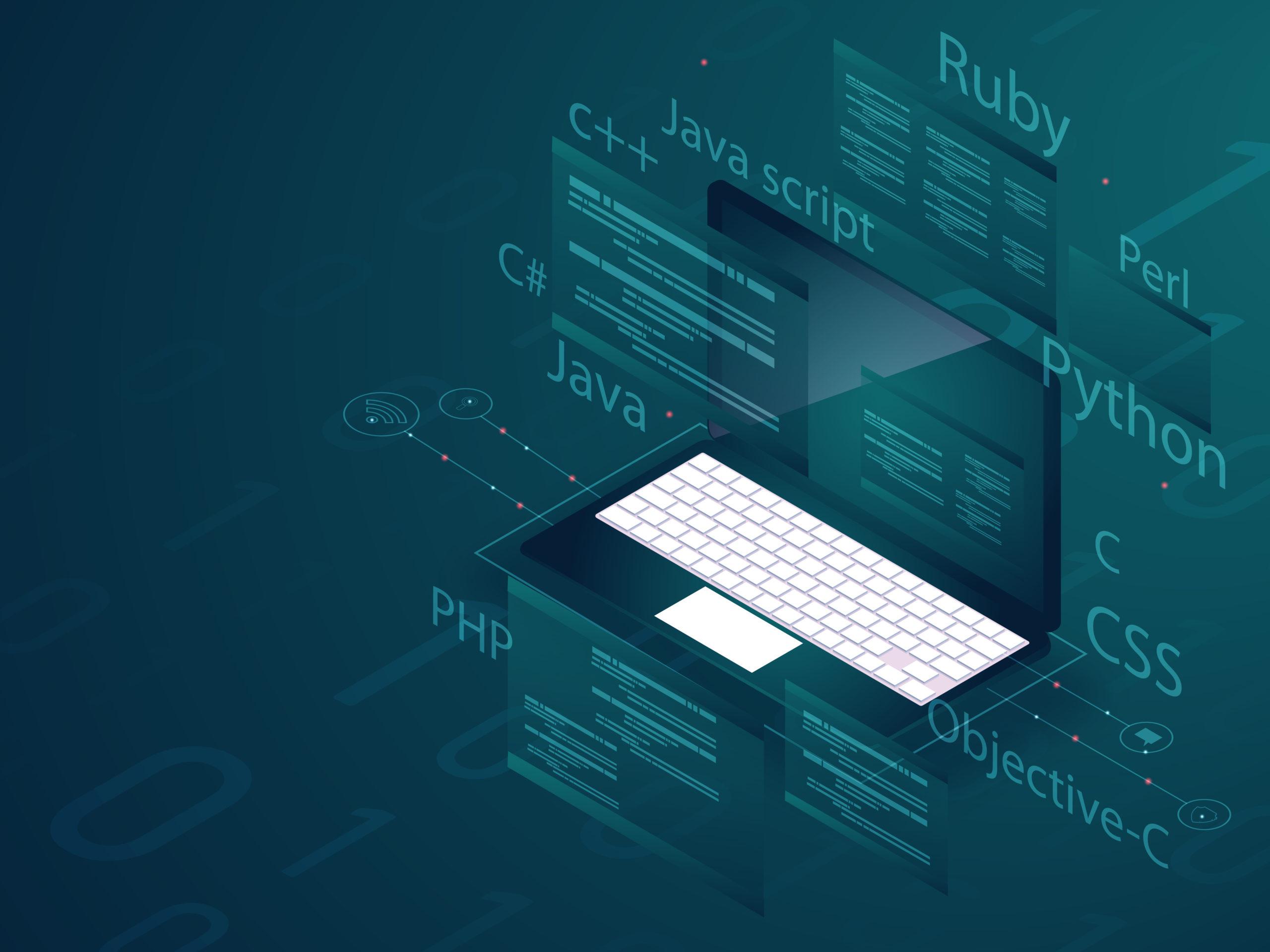 Software development programming concept. Isometric illustration of laptop with multiple programming language on green matrix coding background.