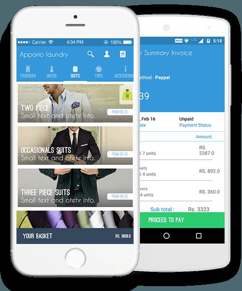 capture d'écran d'application de blanchisserie affichant l'interface des habits destinés au nettoyage