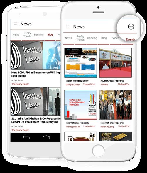capture d'écran d'application destinée à l'information affichant l'interface des actualités