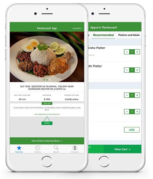 appication de restaurantion affichant l'interface de menu et le panier du client