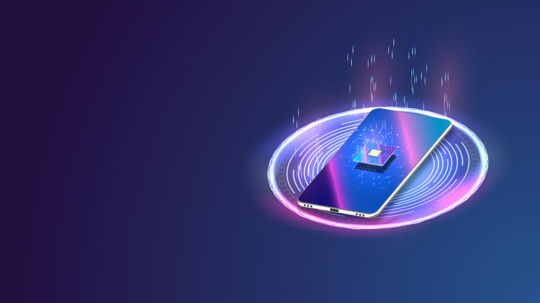 smartphone utra pruissant et fonctionnel en charge sur fond dégradé bleu