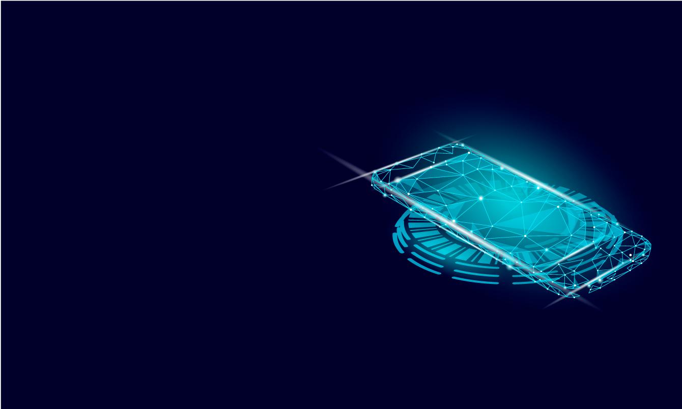 smartphone futuristique sur fond bleu